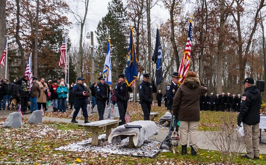 The honor guard at the funeral for Novi Police dog Moose held at the War Dog Memorial in Lyon Township.
