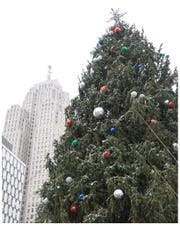 The Duffinas' tree pictured Thursday afternoon in Campus Martius Park.