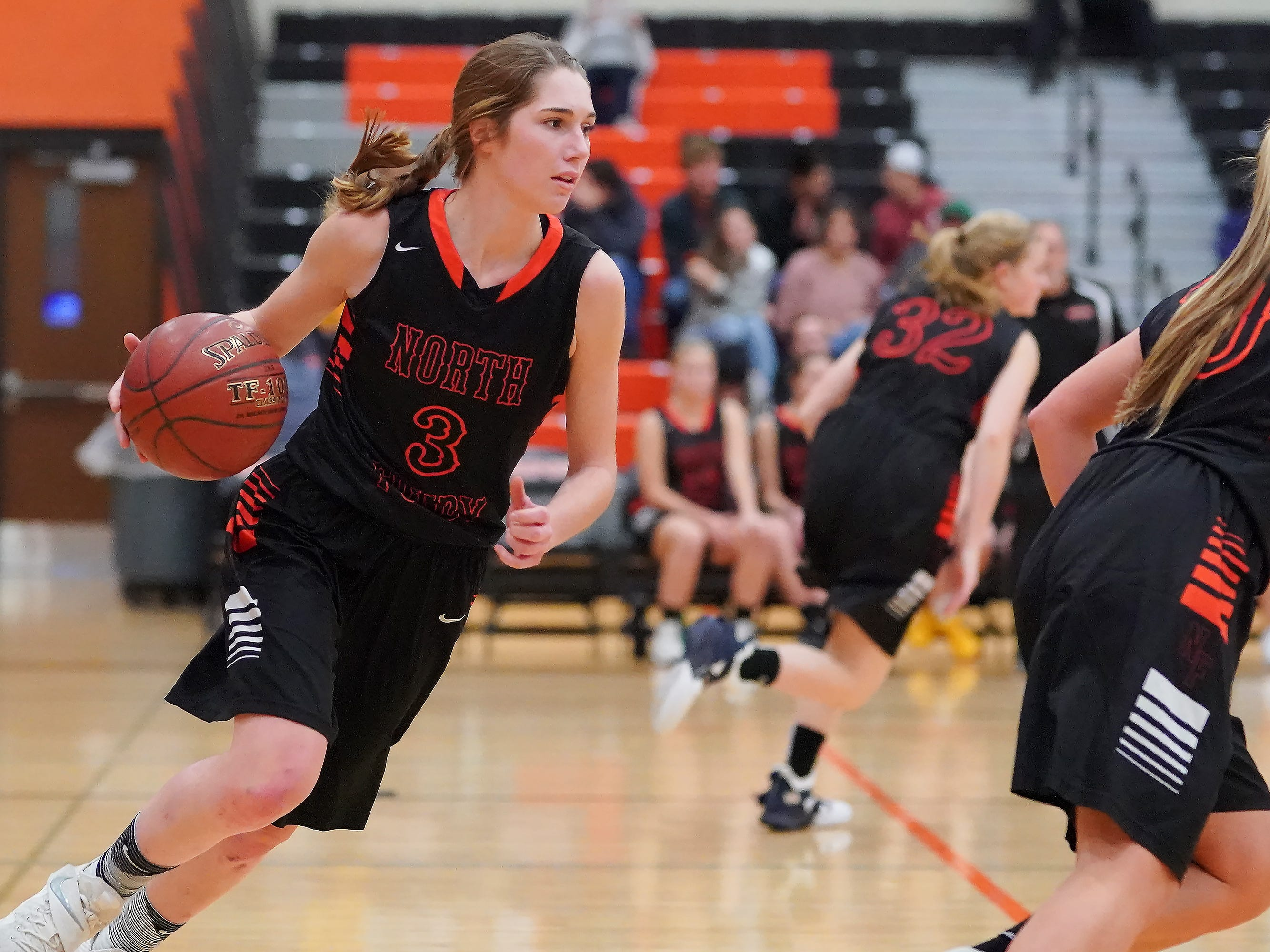 Rebecca Kingsland (3) of North Fond du Lac brings the ball down court. The Ripon Tigers hosted the North Fond du Lac Orioles in a non-conference basketball game Thursday evening, November 15, 2018.