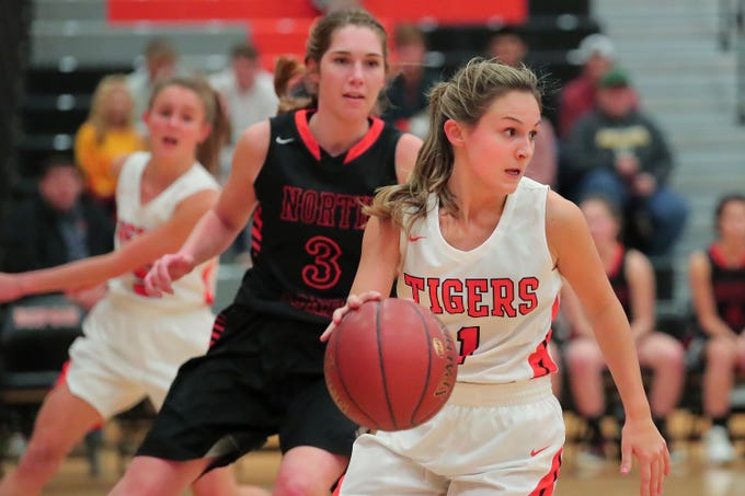 Maria Meincke (1) of Ripon moves the ball down court. The Ripon Tigers hosted the North Fond du Lac Orioles in a non-conference basketball game Thursday evening, November 15, 2018.