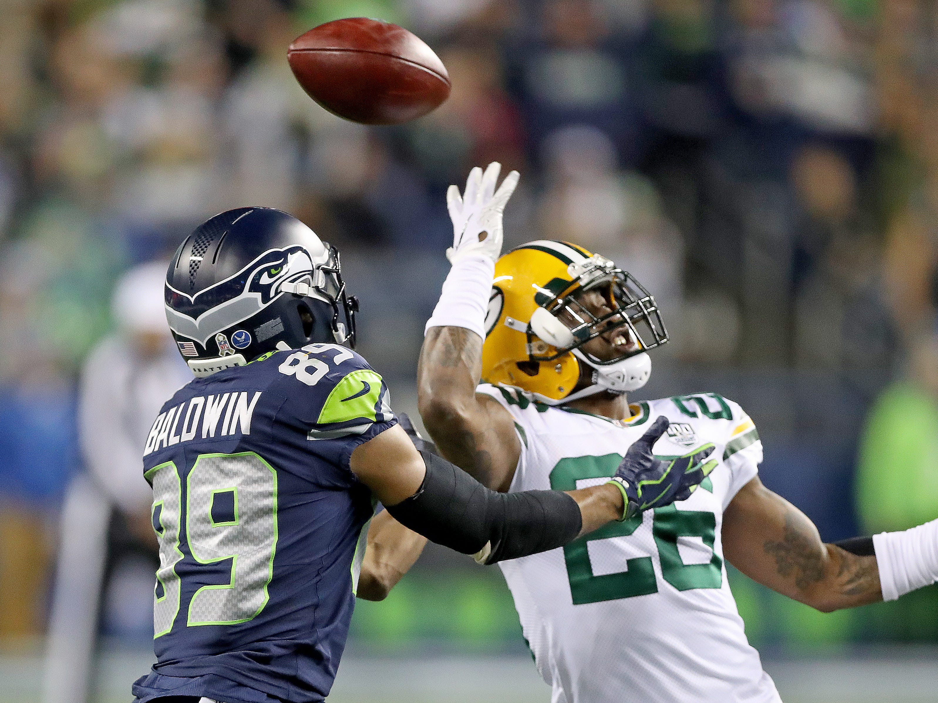 Green Bay Packers defensive back Bashaud Breeland (26) defends a pass to wide receiver Doug Baldwin (89) against the Seattle Seahawks at CenturyLink Field Thursday, November 15, 2018 in Seattle, WA. Jim Matthews/USA TODAY NETWORK-Wis