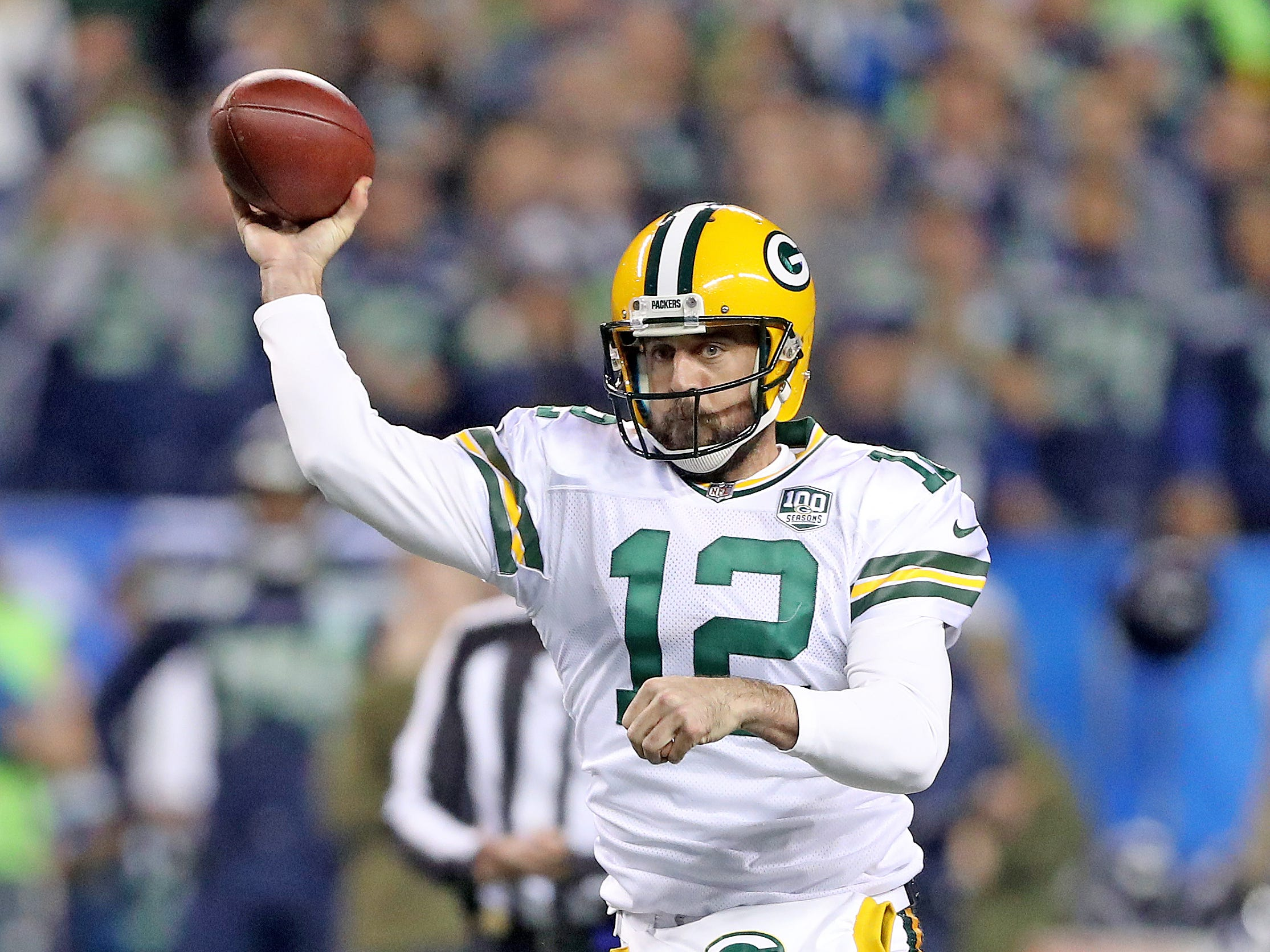 Green Bay Packers quarterback Aaron Rodgers (12) throws on the run against the Seattle Seahawks at CenturyLink Field Thursday, November 15, 2018 in Seattle, WA. Jim Matthews/USA TODAY NETWORK-Wis