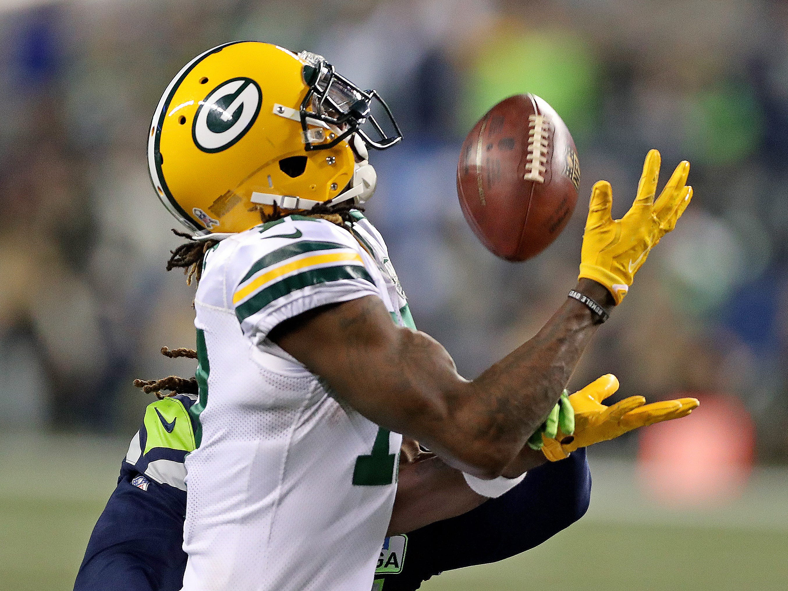 Green Bay Packers wide receiver Davante Adams (17) makes a catch on a long pass against the Seattle Seahawks at CenturyLink Field Thursday, November 15, 2018 in Seattle, WA. Jim Matthews/USA TODAY NETWORK-Wis