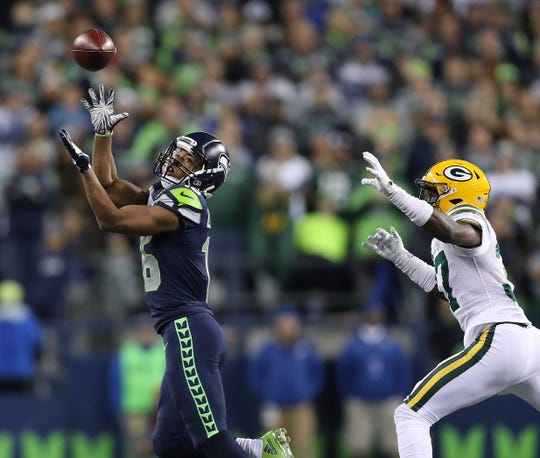 Packers cornerback Josh Jackson gets beaten on a deep pass to Seahawks wide receiver Tyler Lockett during a Nov. 15, 2018 game in Seattle.