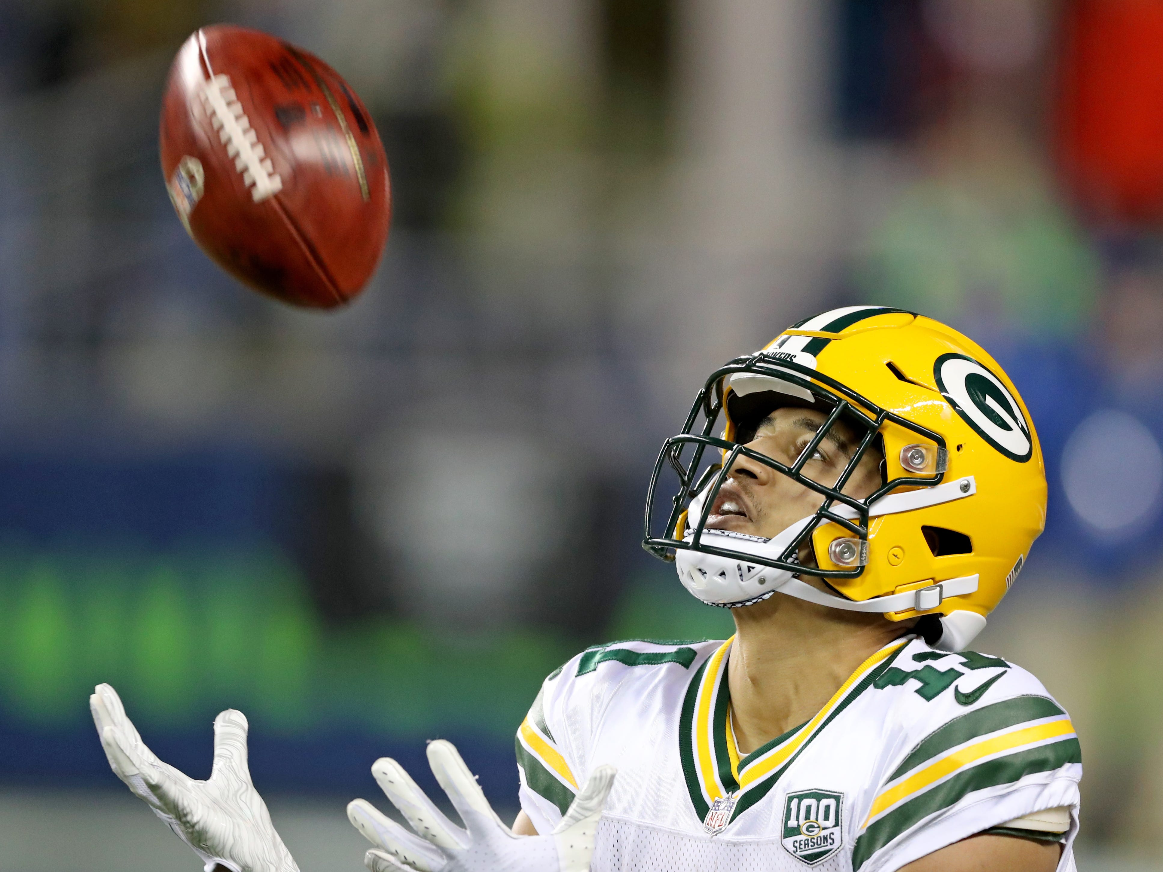Green Bay Packers wide receiver Trevor Davis (11) fields a punt against the Seattle Seahawks at CenturyLink Field Thursday, November 15, 2018 in Seattle, WA. Jim Matthews/USA TODAY NETWORK-Wis