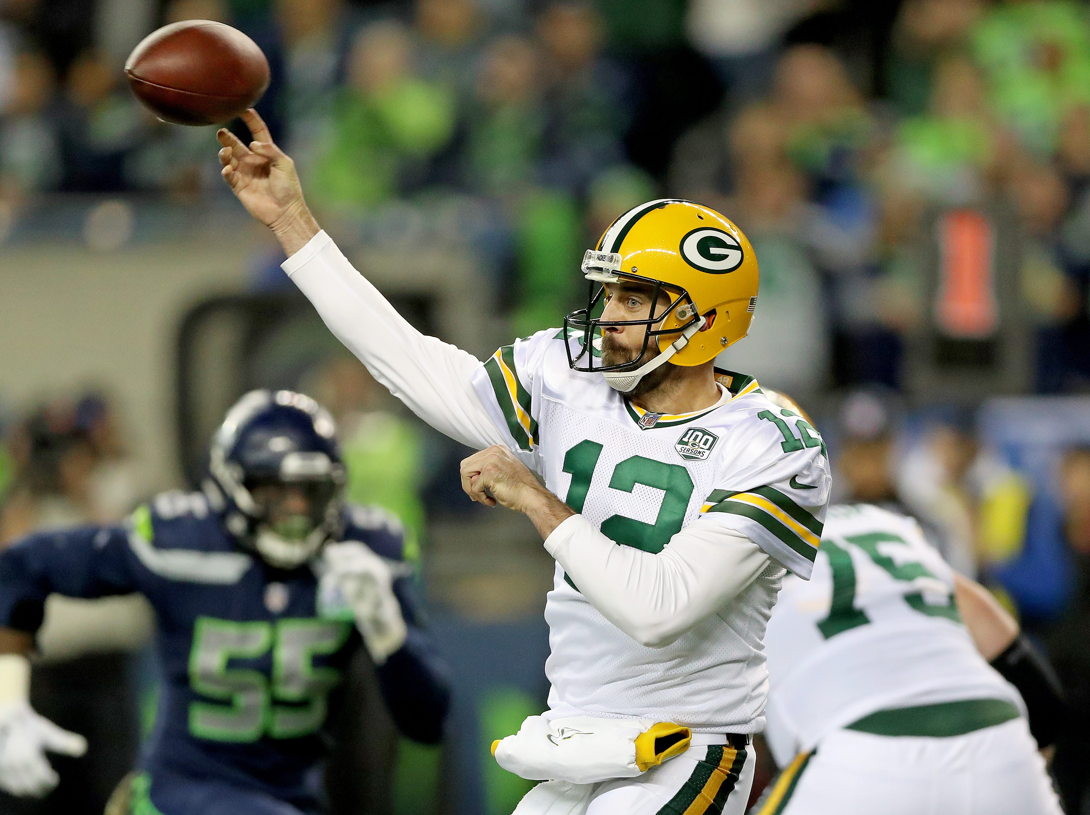 Green Bay Packers quarterback Aaron Rodgers (12) whips a shot pass against the Seattle Seahawks at CenturyLink Field Thursday, November 15, 2018 in Seattle, WA. Jim Matthews/USA TODAY NETWORK-Wis
