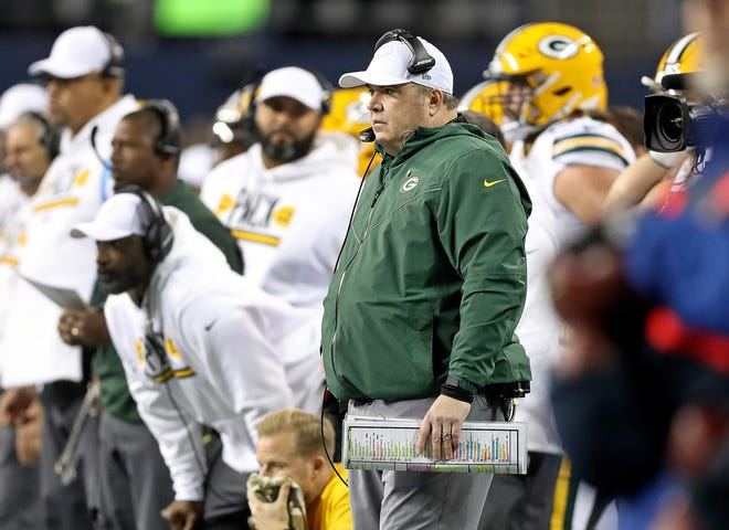 Green Bay Packers head coach Mike McCarthy on the sidelines against the Seattle Seahawks at CenturyLink Field Thursday, November 15, 2018 in Seattle, WA. Jim Matthews/USA TODAY NETWORK-Wis