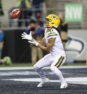 Green Bay Packers wide receiver Trevor Davis (11) catches a kickoff in the end zone against the Seattle Seahawks at CenturyLink Field Thursday, November 15, 2018 in Seattle, WA. Jim Matthews/USA TODAY NETWORK-Wis