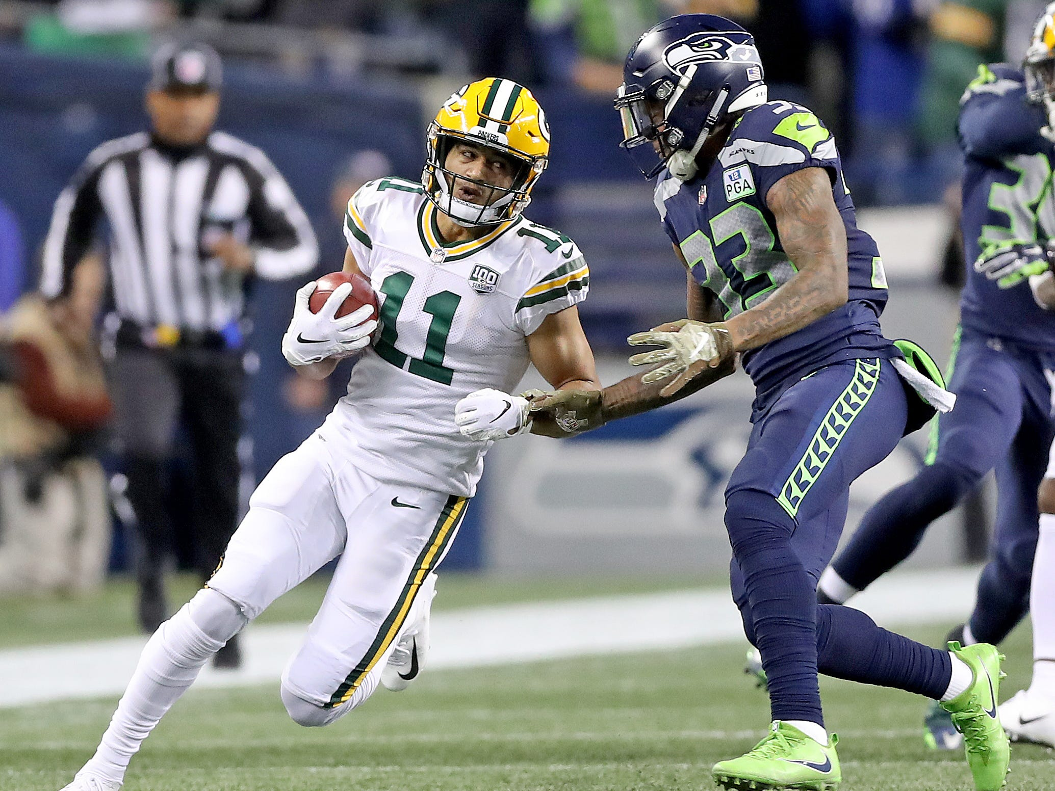 Green Bay Packers wide receiver Trevor Davis (11) on a kickoff return against the Seattle Seahawks at CenturyLink Field Thursday, November 15, 2018 in Seattle, WA. Jim Matthews/USA TODAY NETWORK-Wis