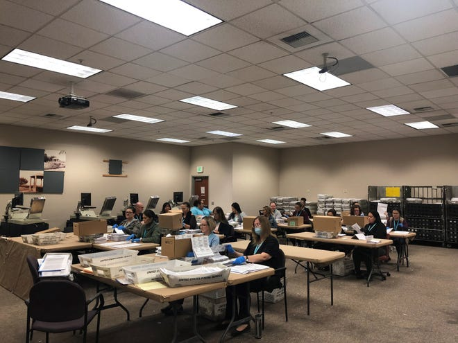 Workers at the Riverside County Registrar of Voters office in Riverside continue to count votes on Thursday from the 2018 midterm elections on Nov. 6.