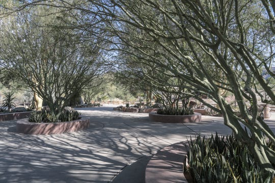 Legacy Plaza, just inside the admission gates at The Living Desert, includes a garden with shade trees and benches. Phase two of the $30 million Crossroads of Conservation improvements to the park will introduce some new animal exhibits, including lions and rhinos, which will be visible as people enter the park.  (Thursday, November 15, 2018)