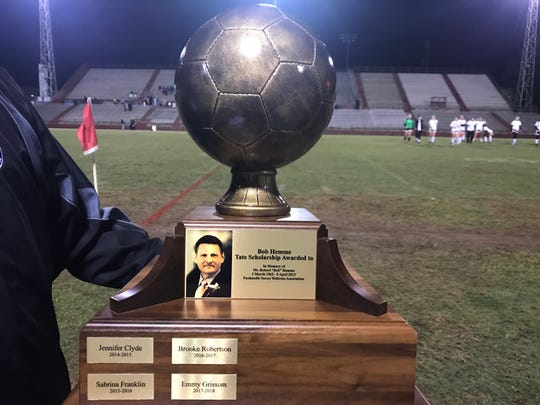 The Bob  Hemme Scholarship Award trophy will be given to the winner of the Navarre-Tate girls soccer match. Navarre beat 4-0 on Nov. 15, 2018 to claim the trophy on its inaugural night.