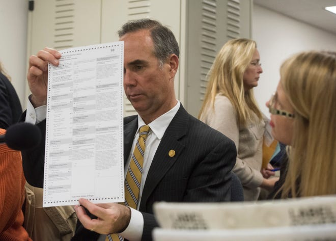 Escambia County Supervisor of Elections, David Stafford, inspects a ballot in question during a manual recount of votes on Friday, Nov. 16, 2018.