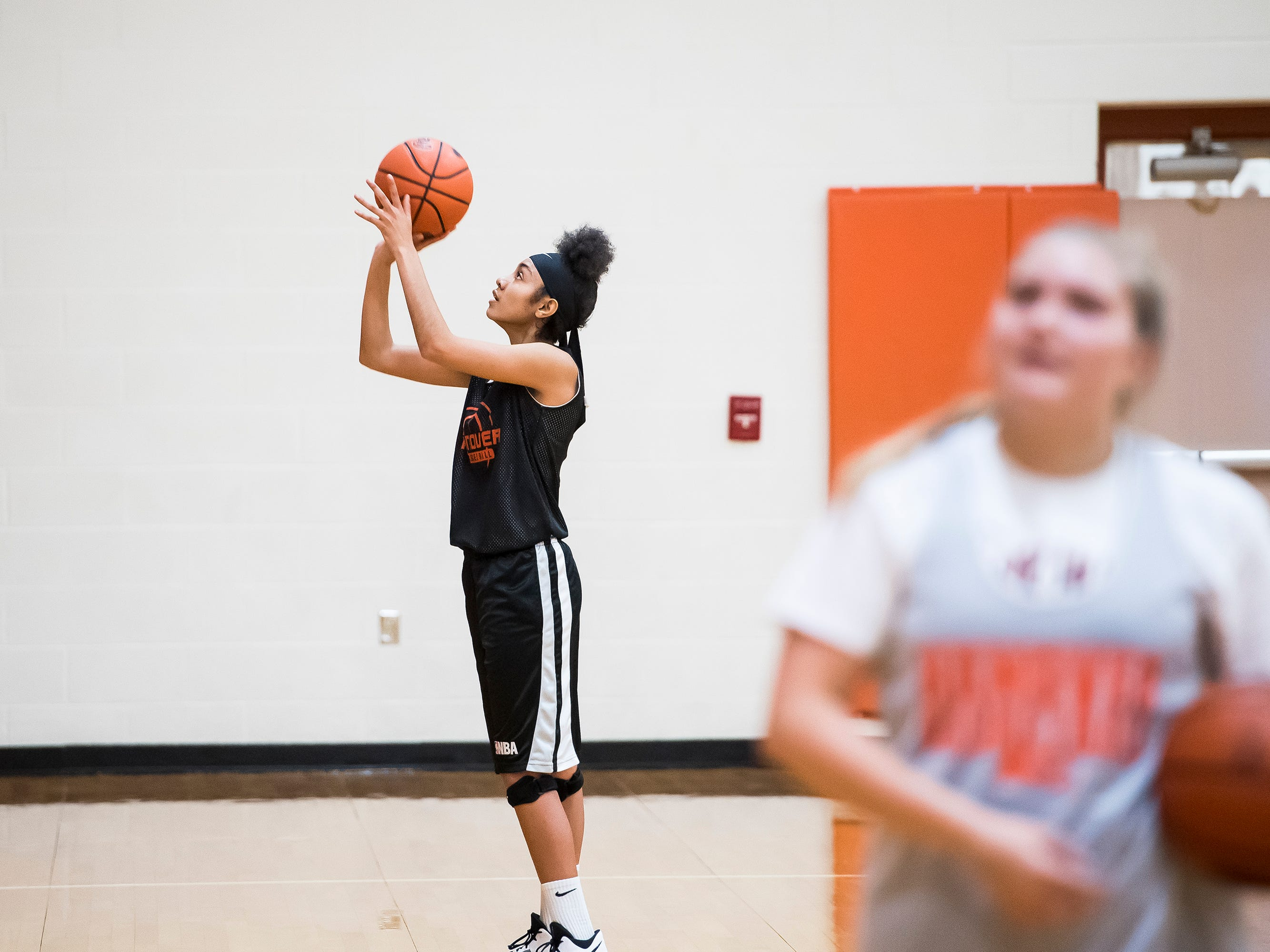 Hanover High School basketball player Avery Abell shoots free throws during the first official day of winter sports practice on Friday, November 16, 2018.
