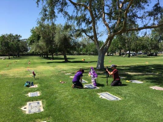 Michelle Dugan at cemetery