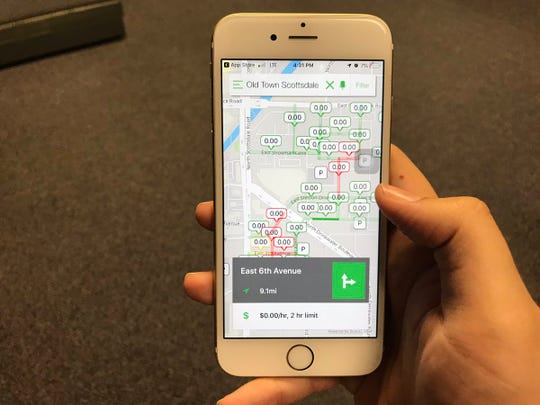 Scottsdale embedded 834 sensors into on-street parking spaces in Old Town that alert app users to open spaces.