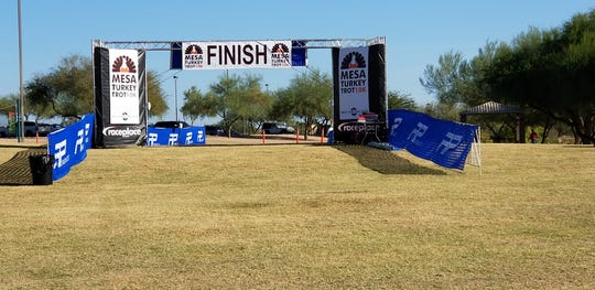 The finish line at the Mesa Turkey Trot.