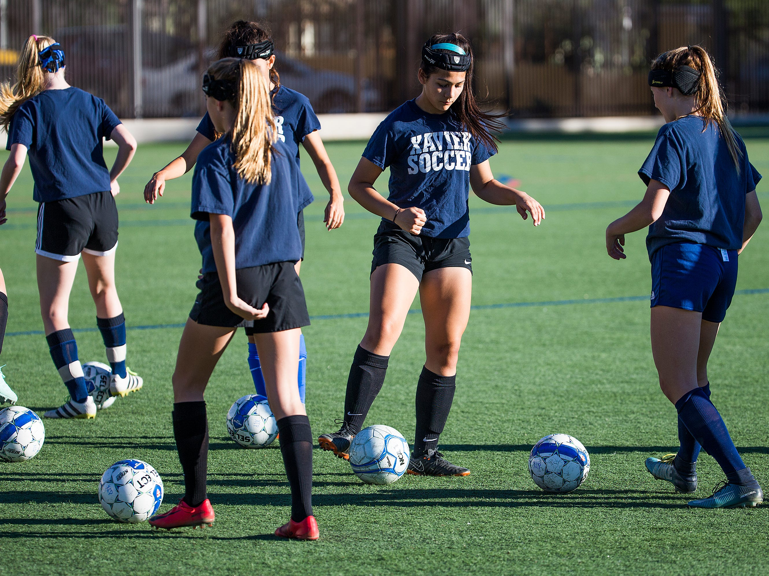 The Xavier College Preparatory soccer team practices at the school, Tuesday, November 13, 2018.