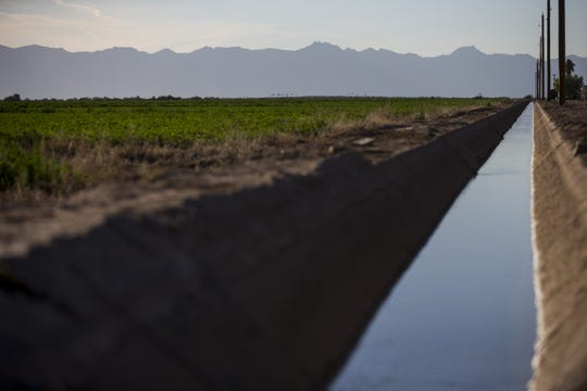 An irrigation canal runs alongside a field in the Gila River Indian Community near Chandler, Ariz.