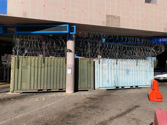 U.S. Army soldiers blocked two lanes at the DeConcini port of entry in Nogales this week, in anticipation of the potential arrival of migrants traveling through Mexico in a caravan.