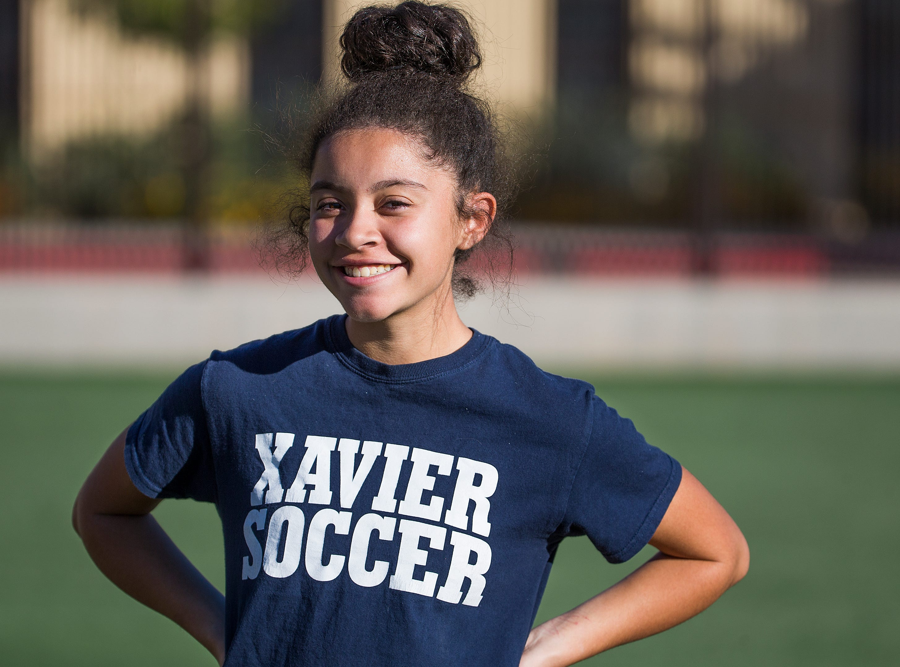 Xavier College Preparatory soccer player Caitlin Johnston takes a break during practice at the school, Tuesday, November 13, 2018.