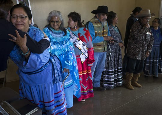 Carletta Tilousi, left, a Havasupai council member, and other Havasupai Tribe members gather after a uranium mine press conference at Museum of Northern Arizona in Flagstaff.