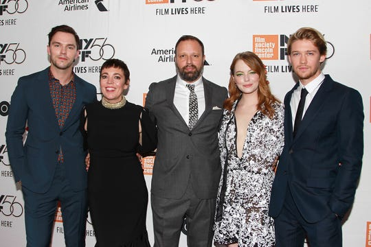 """""""The Favourite"""" team catch the film's New York premiere.  Nicholas Hoult (from left), Olivia Colman, director Yorgos Lanthimos, Emma Stone and Joe Alwyn attend."""