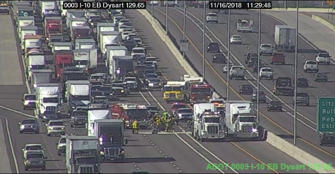 A crash on I-10 at Litchfield Road near Goodyear caused traffic delays Friday morning.