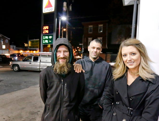 Prosecutors charged, from left, Johnny Bobbitt Jr., Mark D'Amico and Kate McClure  in connection with a campaign that raised $400,000 to help Bobbitt, a homeless veteran.