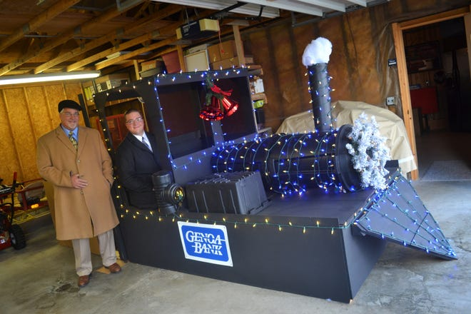 Genoa Bank President and CEO Marty Sutter and his son, Luke Sutter, a commercial lender at the bank, will ride in the Genoa Bank Polar Express float during the Genoa Holiday Parade on Nov. 25. Floats will compete for first, second, and third place ribbons.