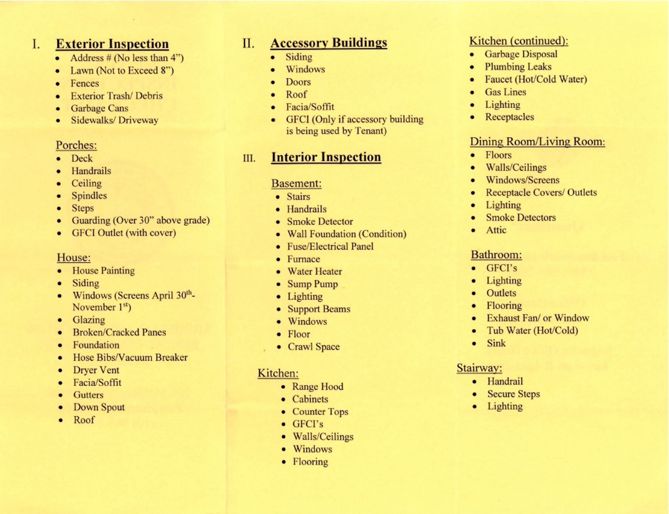 The city of Port Huron's checklist for rental inspections. Officials said the list went out to local landlords in June 2018.