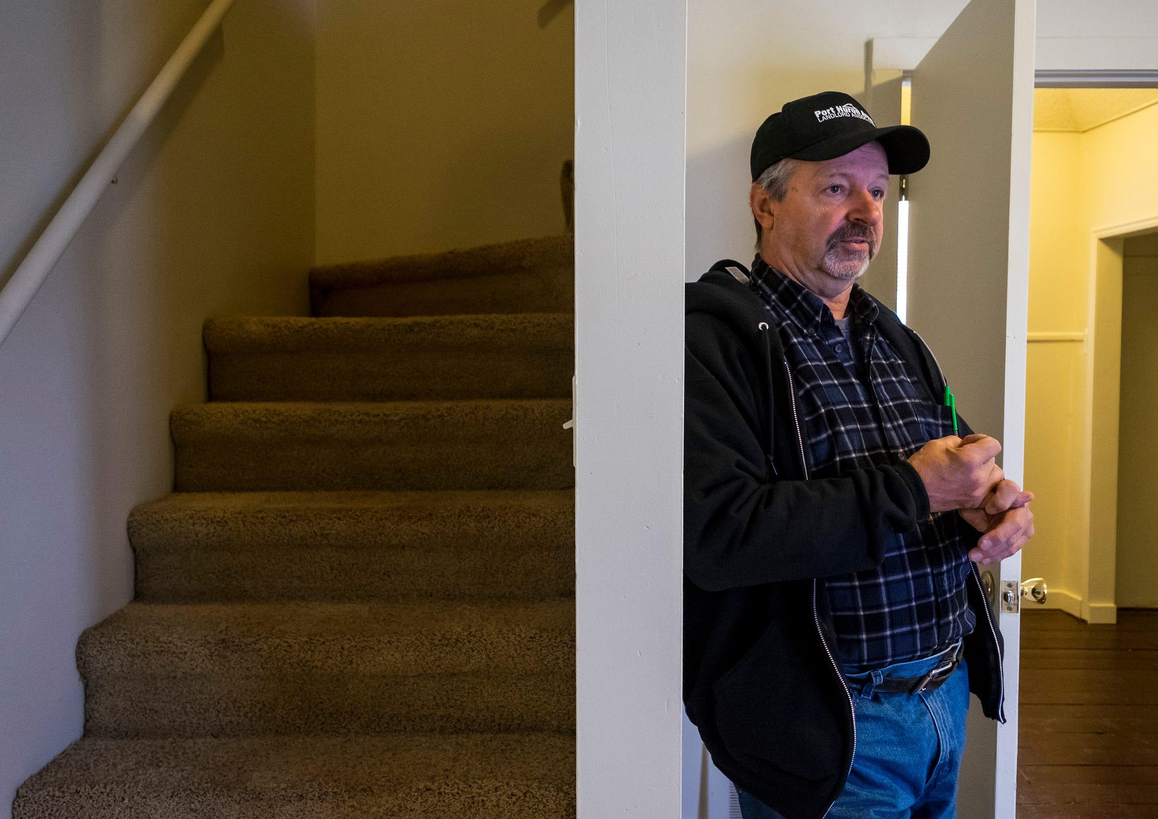 Port Huron Area Landlord Association President Mike Bodeis talks inside one of his Port Huron rental homes Friday, Nov. 16, 2018, before an inspection.