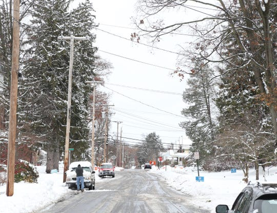 South Mesier Avenue in Village of Wappingers Falls shows the remains of a heavy snow storm  on November 16, 2018.
