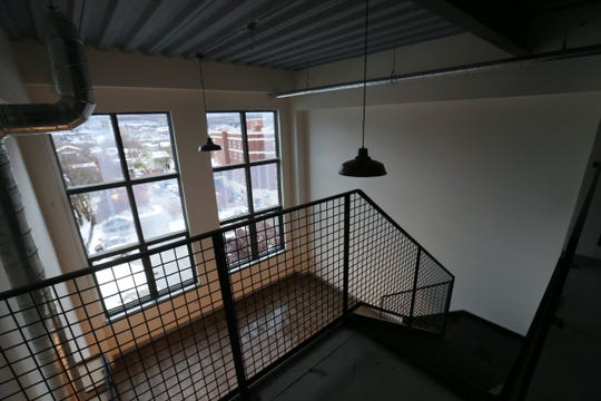 A view from the loft of a one bedroom apartment inside Queen City Lofts in the City of Poughkeepsie on November 16, 2018.