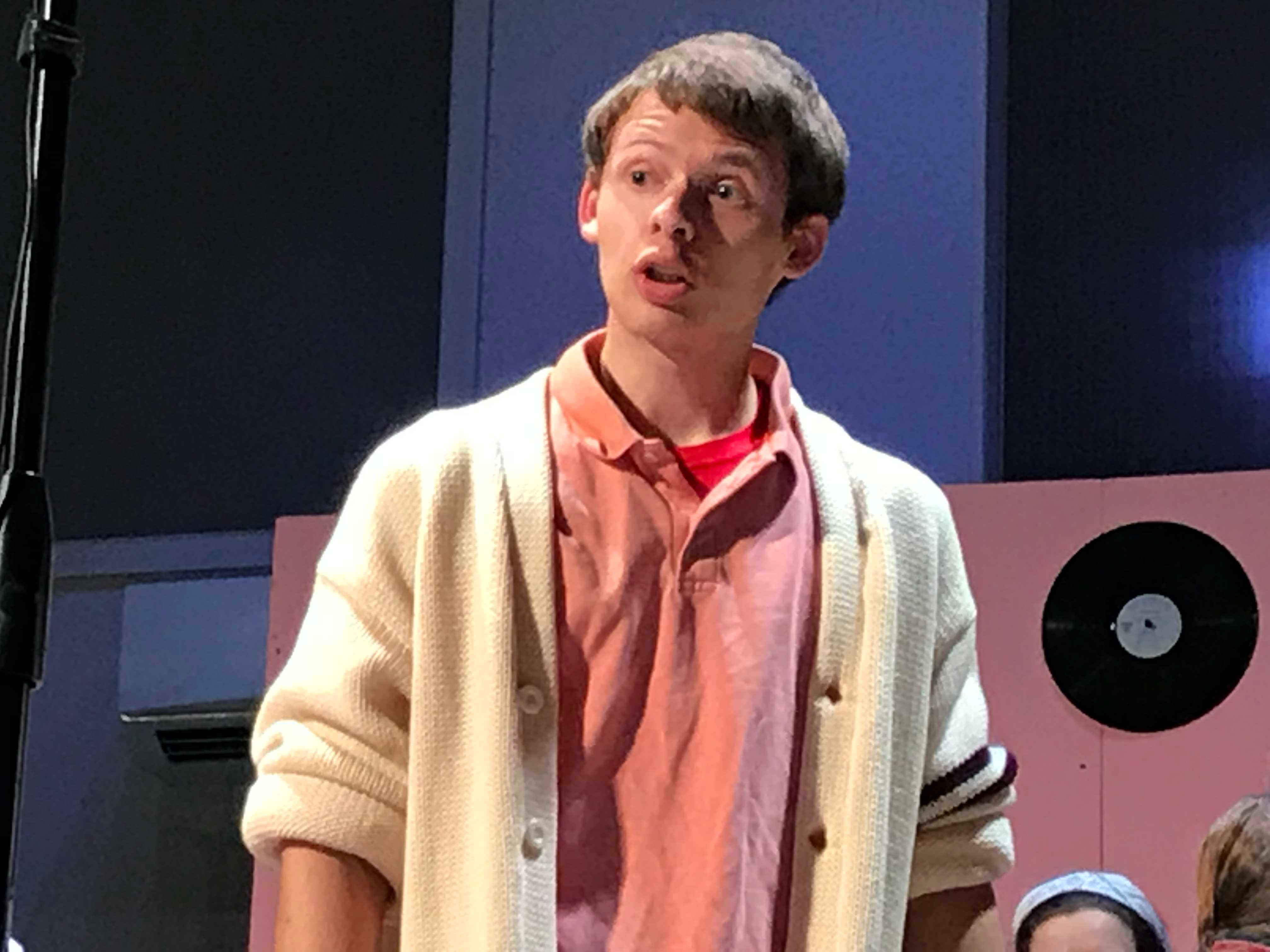 """Cumberland Valley Christian School sophomore Thomas McVey portrays """"Jim Shorts"""" in """"Murder at the Malt Shop"""" during a dress rehearsal on Friday afternoon. The public is invited to see the play at 7 p.m. tonight at the Open Door Church, which is located in the Cumberland Valley Christian School complex, at 600 Miller St., Chambersburg."""