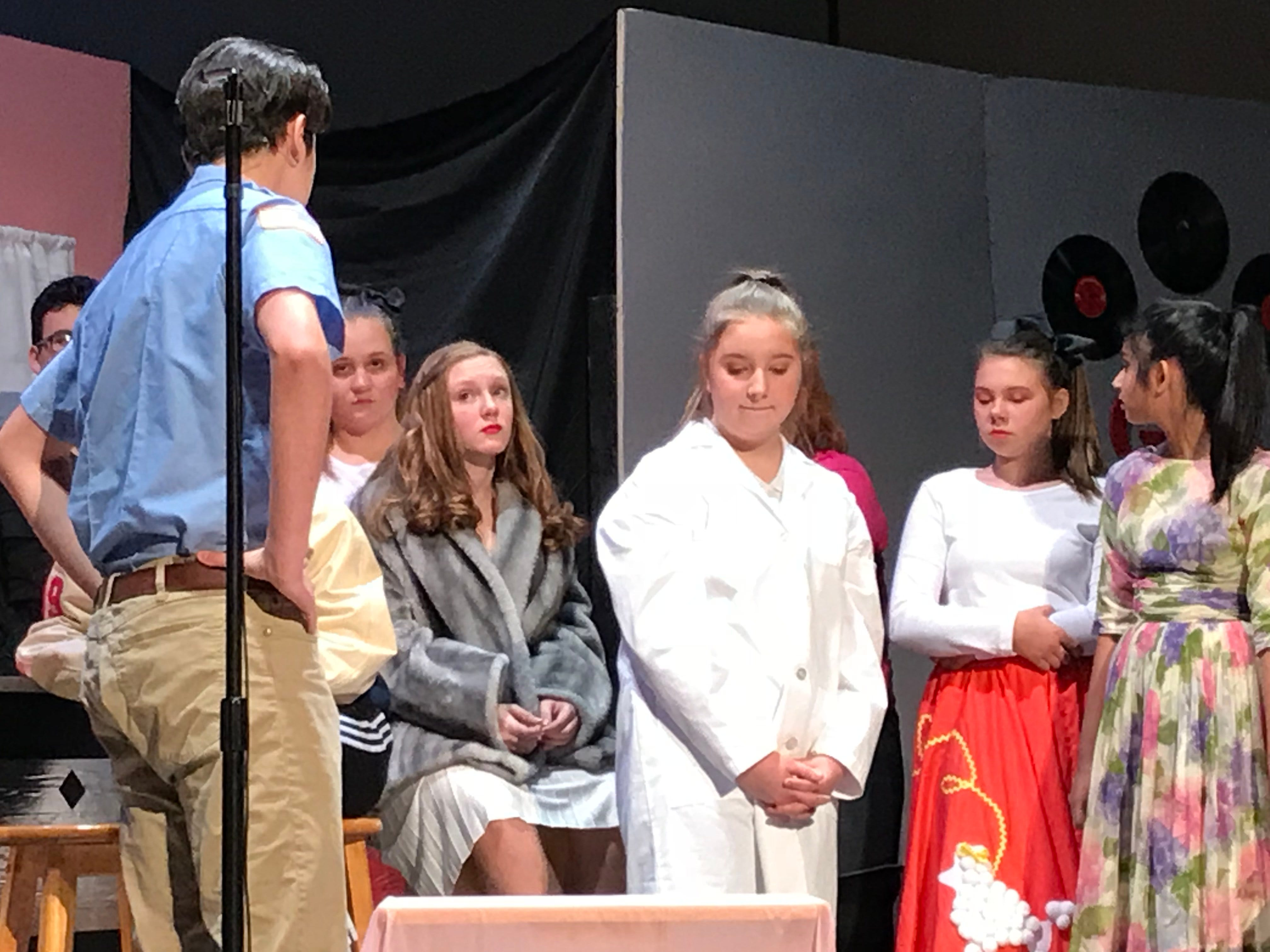 """Cumberland Valley Christian School students act out a scene in  """"Murder at the Malt Shop"""" during a dress rehearsal on Friday afternoon.  Pictured are, from left: Gianni Castellano, Hannah Kennedy, Emmalyn Hott, Jocelyn Merriman, Molly Buchanan and Dhriti Rathod. The public is invited to CVCS's performances of """"Murder at the Malt Shop"""" at 7 p.m. on Nov. 16 and 17 at Open Door Church, on the campus of CVCS at 600 Miller St., Chambersburg."""