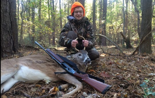 15-year-old Isaac First poses with his first harvested deer in Saint Michaels, Maryland. Despite living in Harrisburg, Isaac and his father, Josh hunt out of state on weekends because of restrictions on Sunday hunting in Pennsylvania and their Jewish faith prohibiting them from hunting on Saturdays.