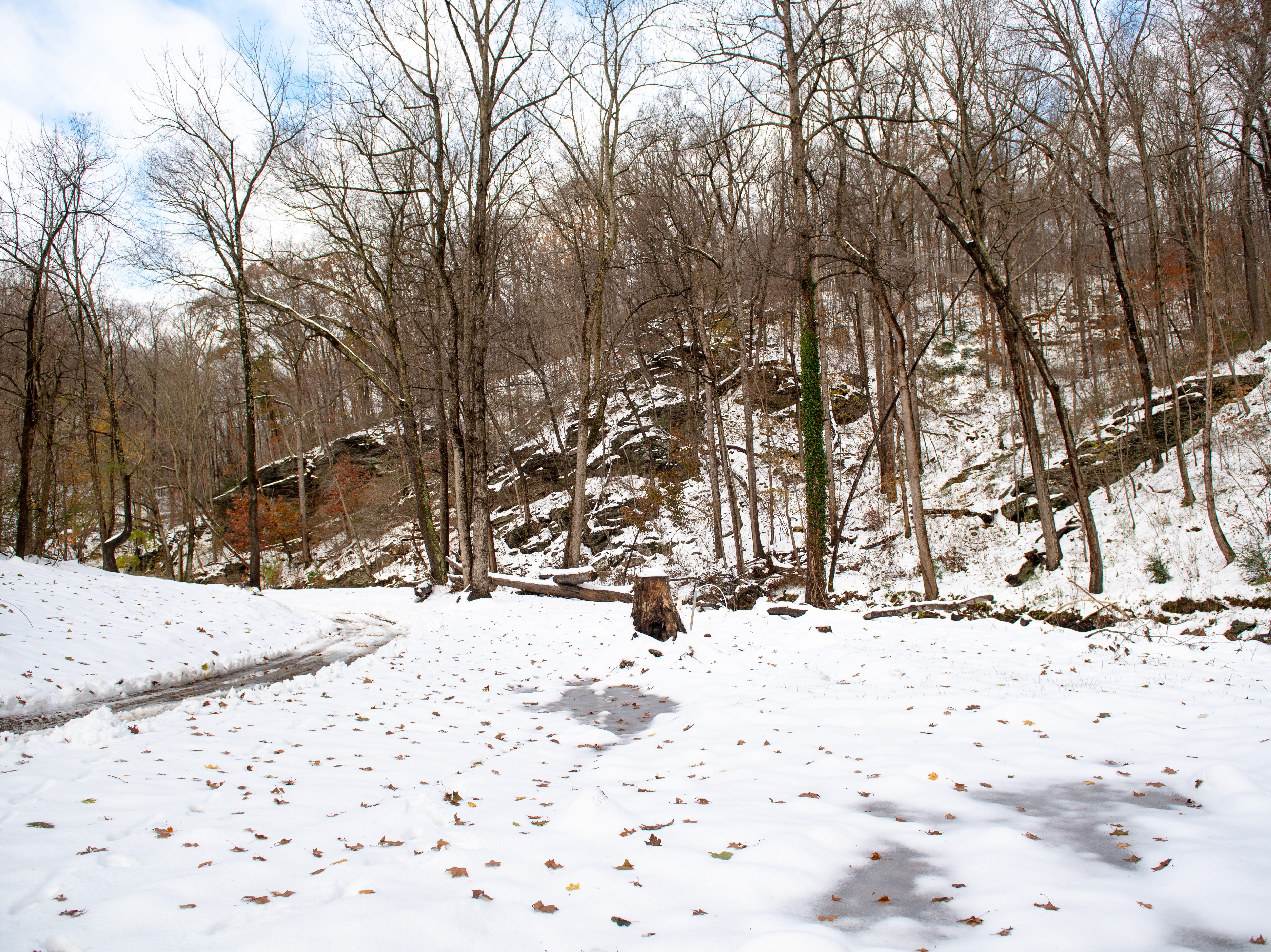 Donnie Grove used to watch eagles and otters from his home alongside Otter Creek. Now there's just a snow-covered lot, November 16, 2018.