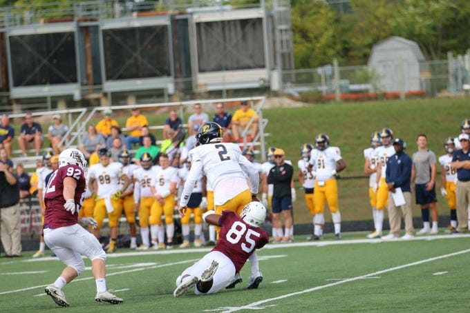 Harrison Rice (85), a 2017 Northeastern High School graduate, had 51 tackles in 10 games for the Earlham College football team. He also had 4.5 tackles for a loss, a fumble recovery and blocked a kick.