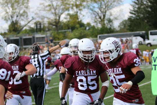 Harrison Rice (85) and Kobe Walker (35) during a past Earlham football game.
