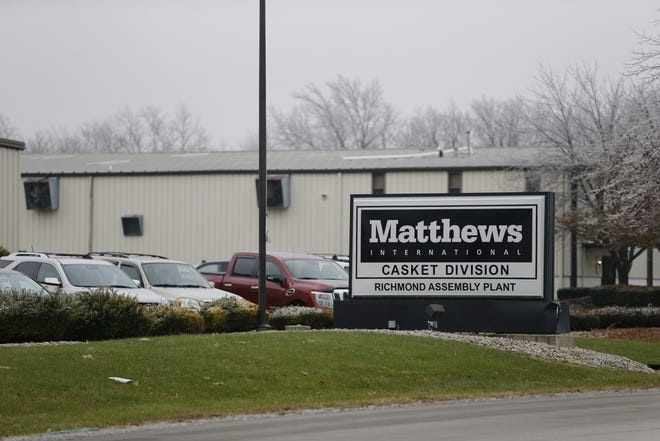 The Matthews International plant at 401 Industrial Parkway in Richmond will close by the end of 2019.