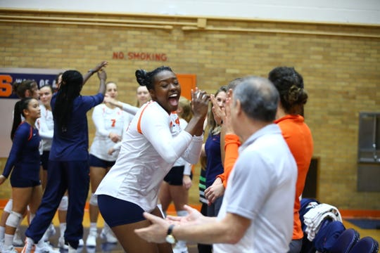 Syracuse's Santita Ebanwese gets fired up before a match against Georgia Tech
