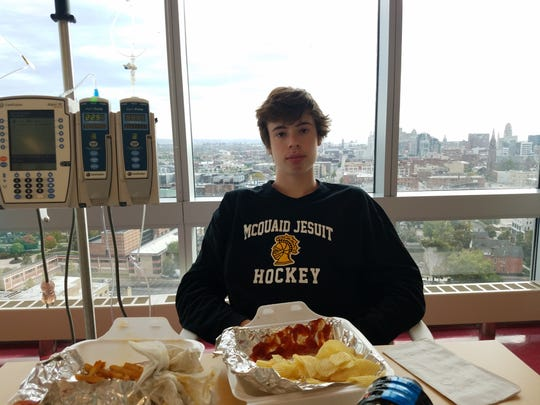McQuaid senior defenseman Cooper Petrone at Oishei Children's Hospital in Buffalo. The hockey community has rallied around him as he gets treatment for lymphoma, a blood cancer.