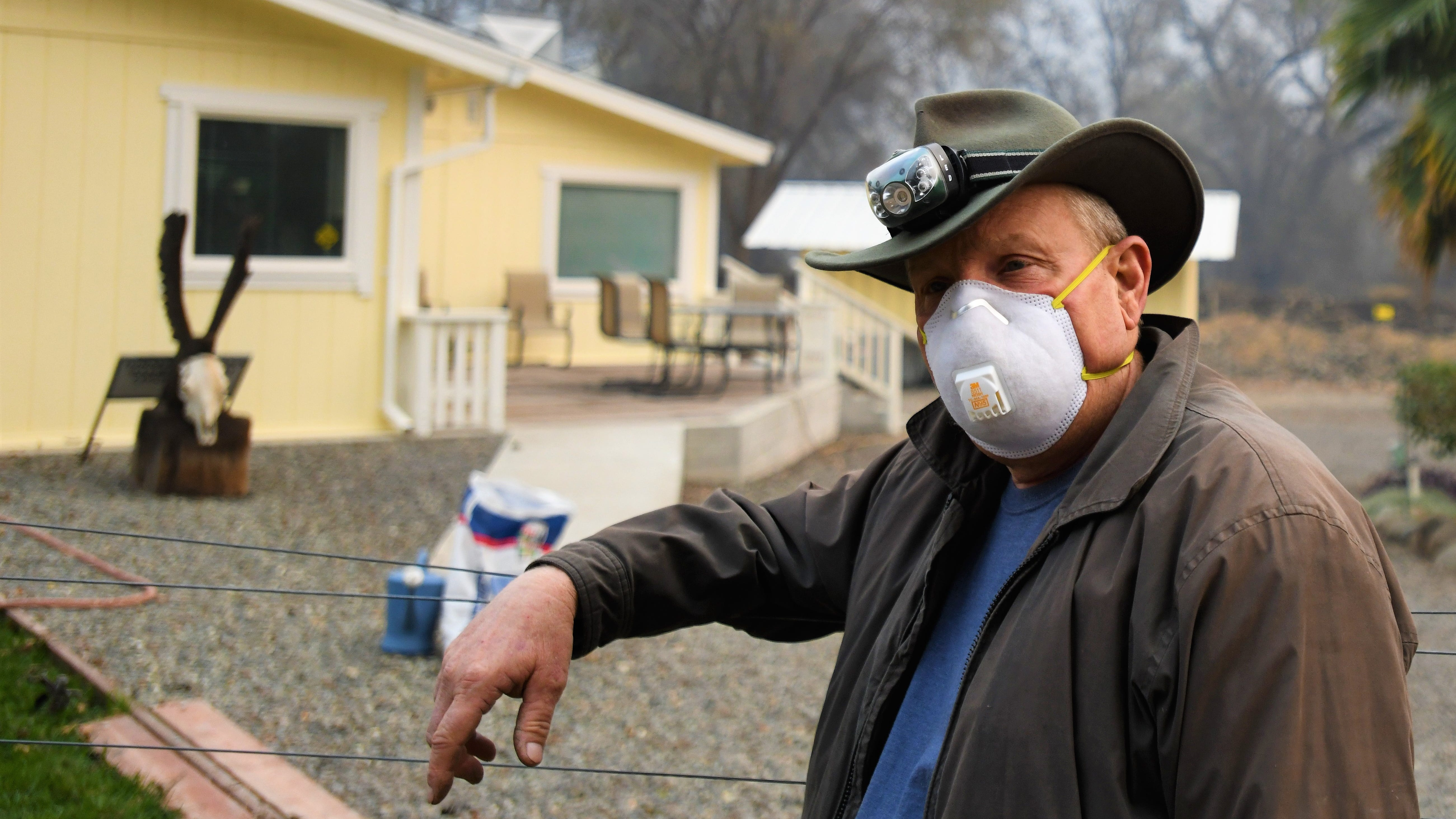 Tom Witherspoon, a nurse in Chico, chose to stay and protect his home in Butte Creek Canyon. His house was well prepared to withstand the flames and survived, but many of his neighbors are not so lucky.