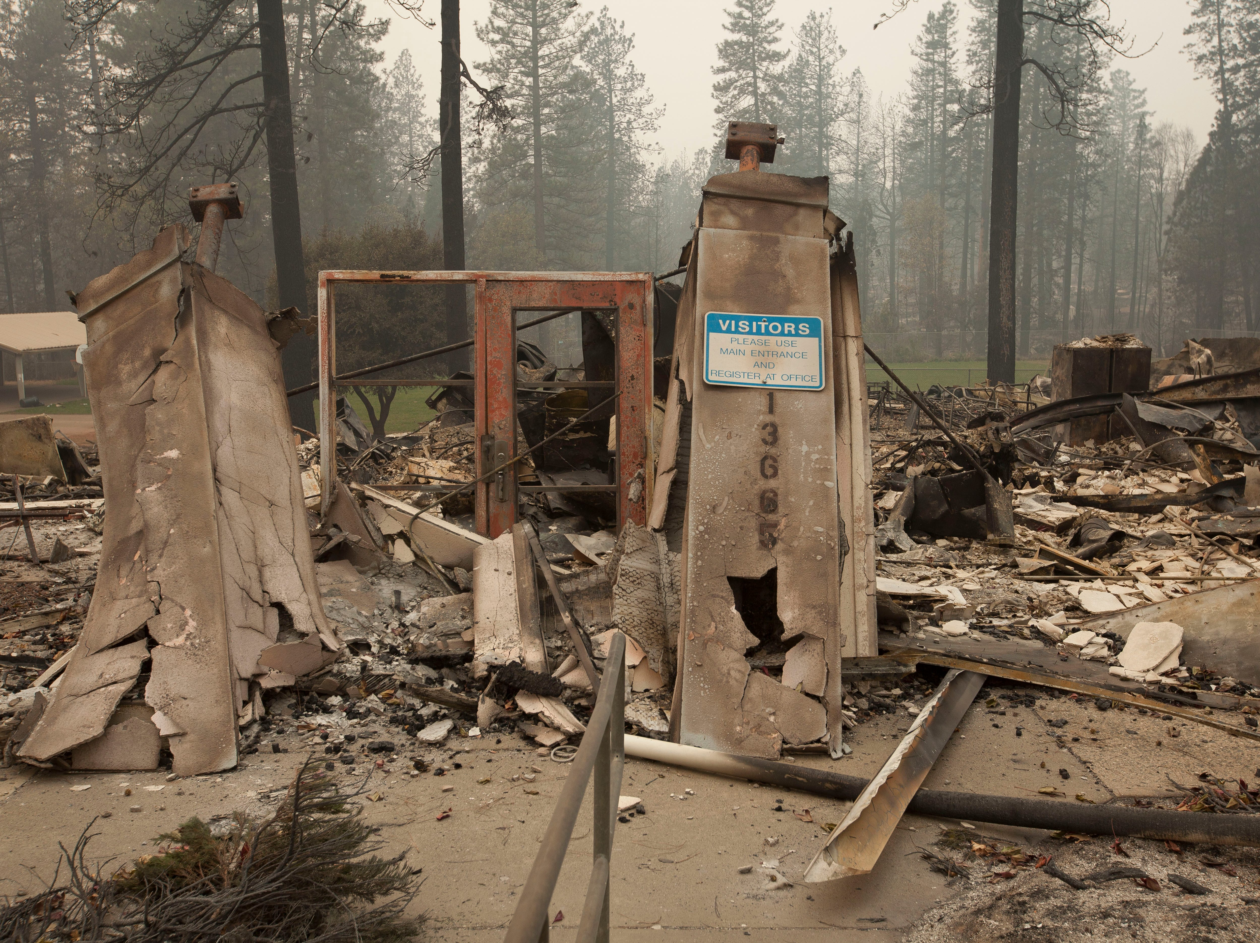 Very little remains of the continuation high school in Paradise, CA, after the Camp Fire devastated the area.