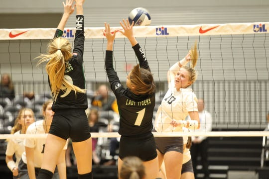 Water Valley's Chesney Baker goes up for a kill against Neches in the Class 1A state volleyball final Thursday, Nov. 15, 2018, in Garland.