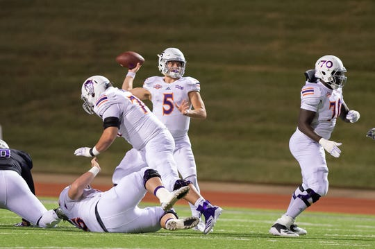 Northwestern State quarterback Shelton Eppler prepares to throw a pass during a victory against Stephen F. Austin in 2018.
