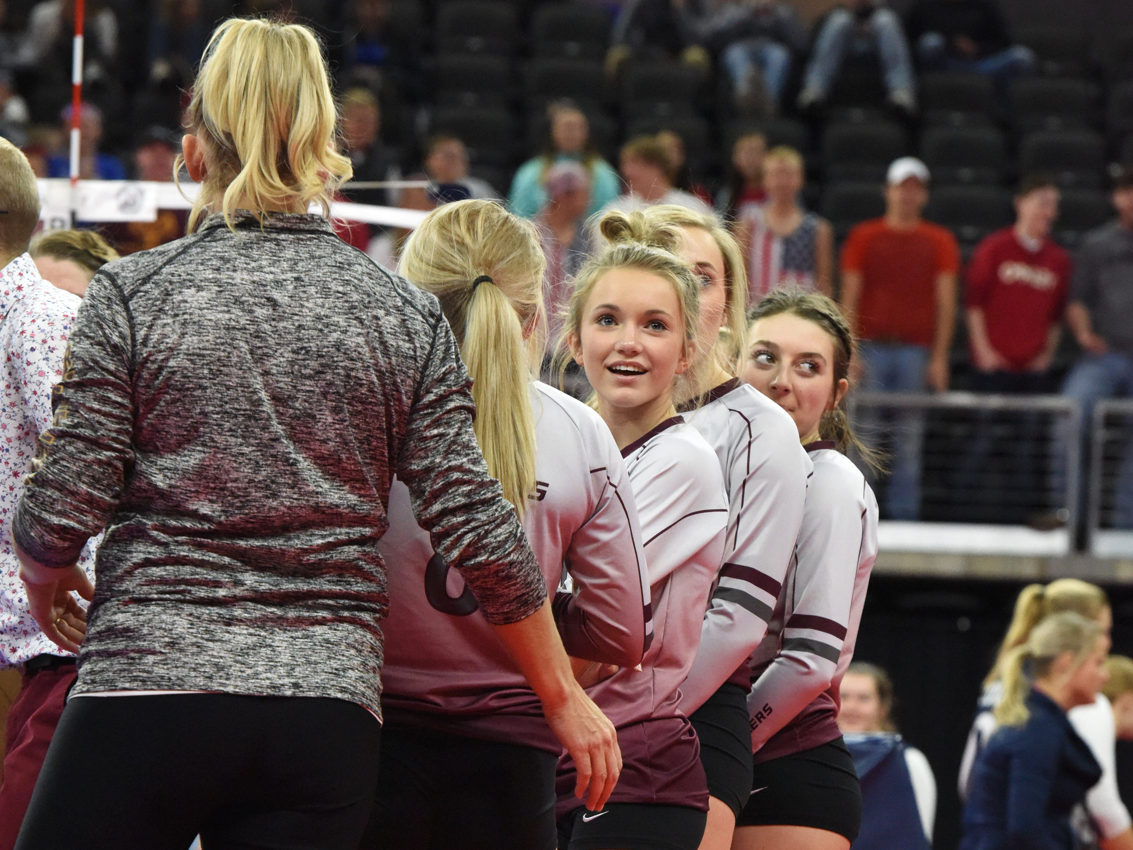 Ethan players look over at the crowd during a match against Burke, Friday, Nov. 16, 2018, at the Denny Sanford Premier Center in Sioux Falls, S.D.