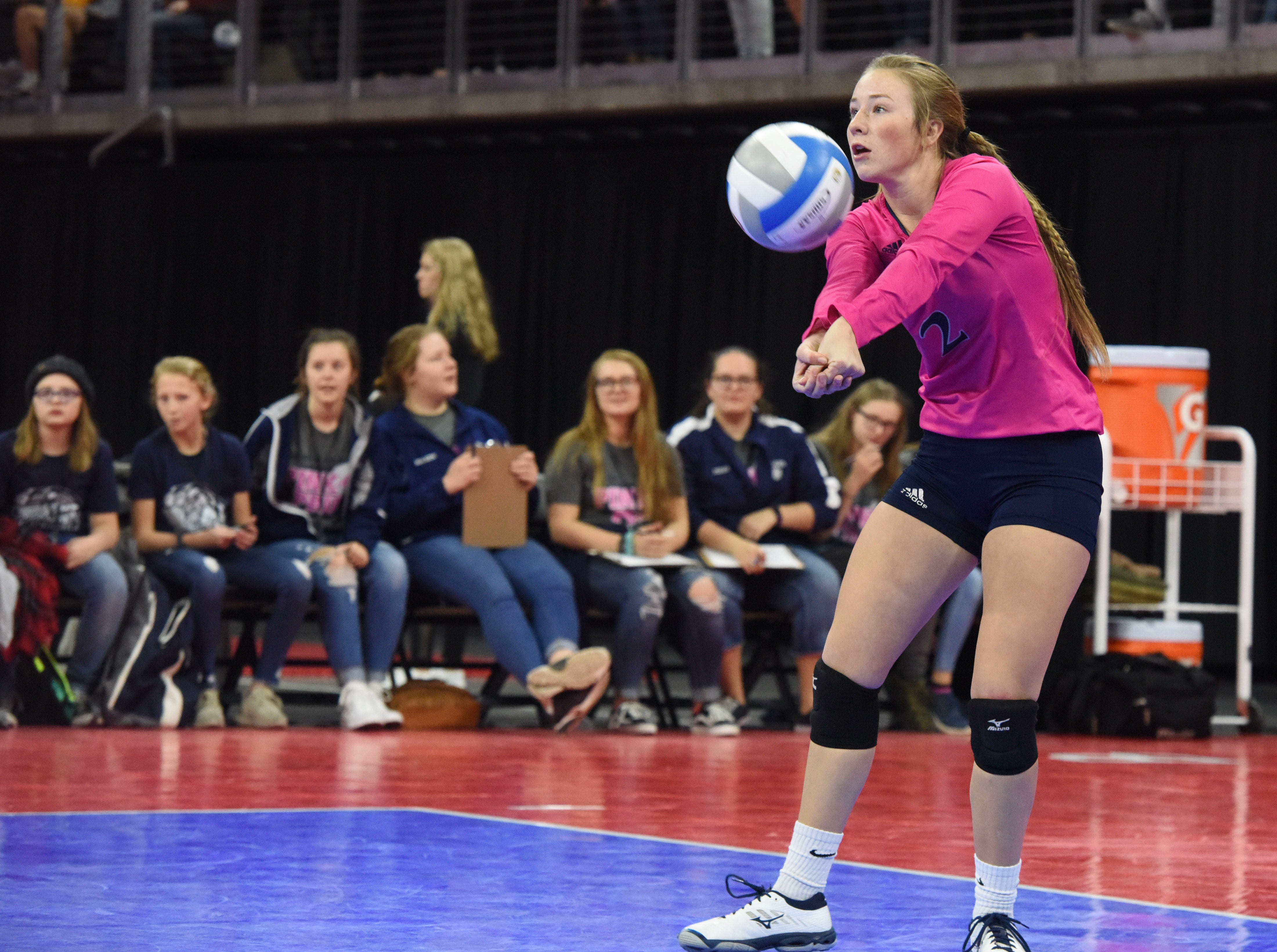 Burke's Lainee Schonebaum (2) bumps the ball during a match against Ethan, Friday, Nov. 16, 2018, at the Denny Sanford Premier Center in Sioux Falls, S.D.