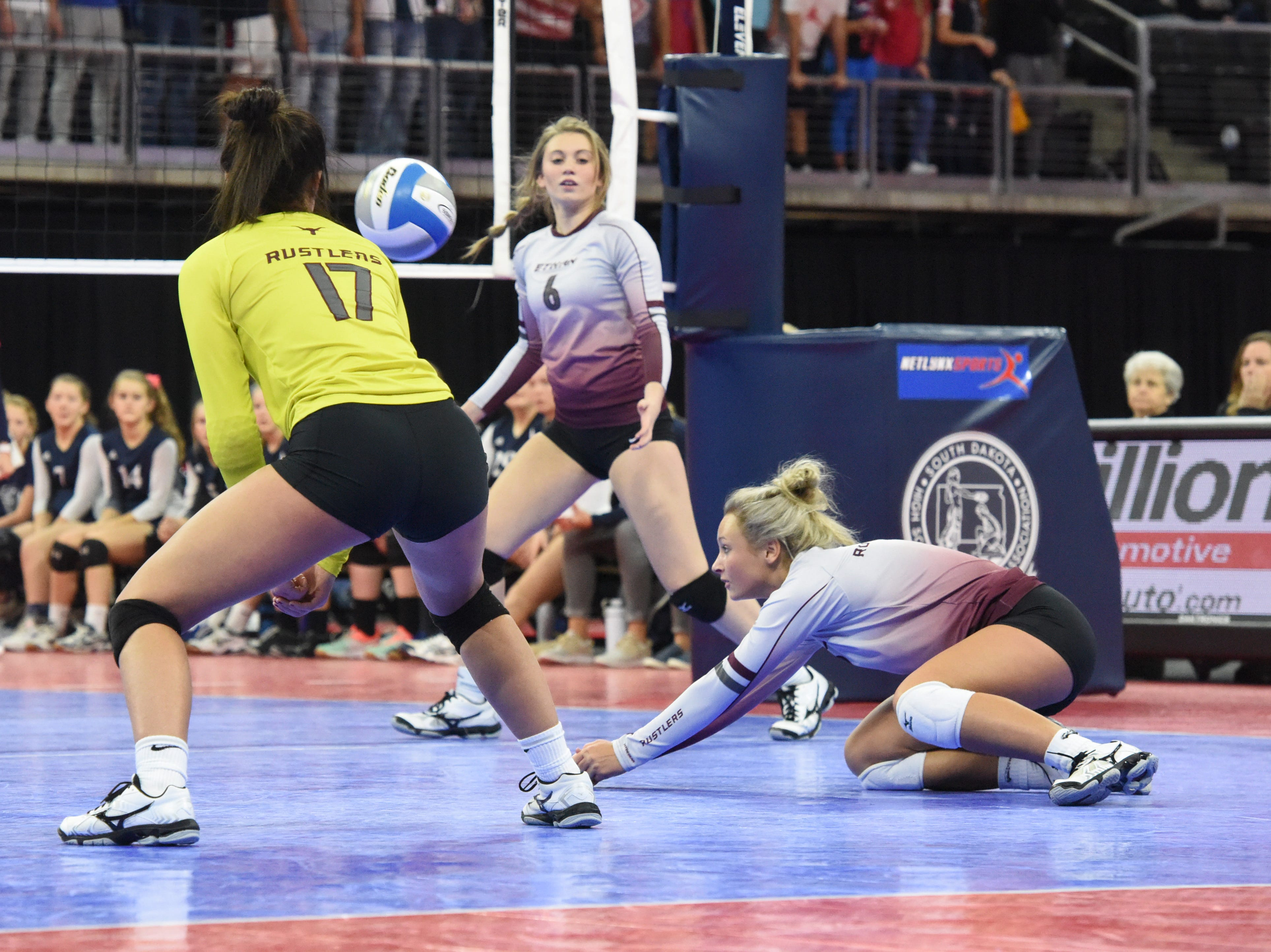 Ethan's Jessica Bartscher (2) bumps the ball during a match against Burke, Friday, Nov. 16, 2018, at the Denny Sanford Premier Center in Sioux Falls, S.D.
